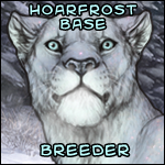 A headshot of a Hoarfrost-based lioness. The caption says: 'Hoarfrost Base Breeder.'