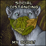 A headshot of a lioness wearing a mask made of leaves. The caption says: 'Social Distancing, My Dude!'